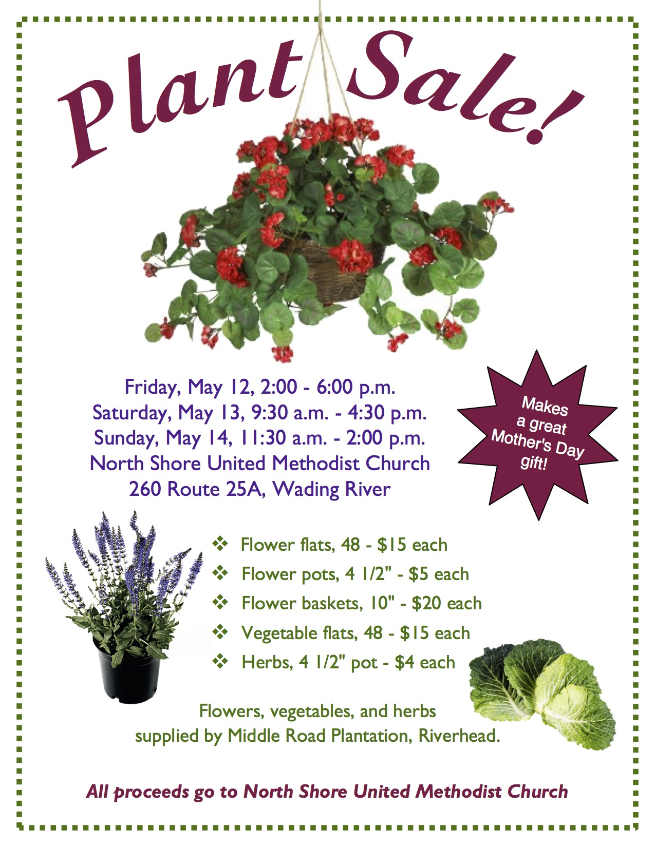 Annual Mother\'s Day Plant Sale! | North Shore United Methodist Church